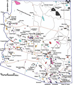 AZGS Mineral Resources Mining In Arizona - Map of az