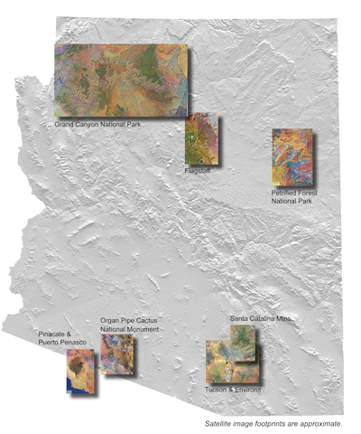 Satellite maps of Arizona, including the Grand Canyon