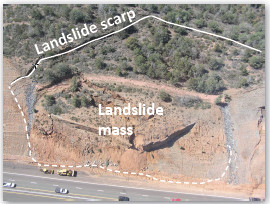 Rotational landslide, SR 87 in March 2008